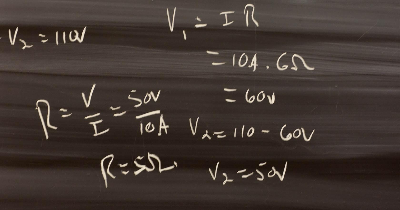 Formulas on a blackboard.